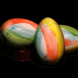 three chocolate eggs