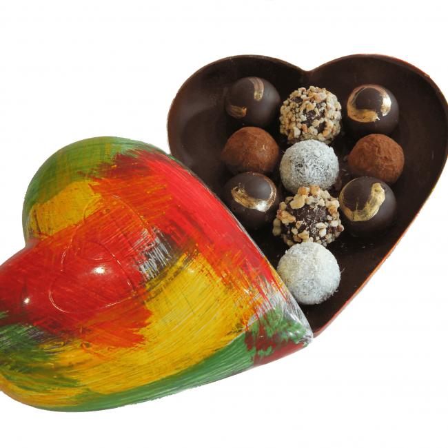 chocolate heart with truffles