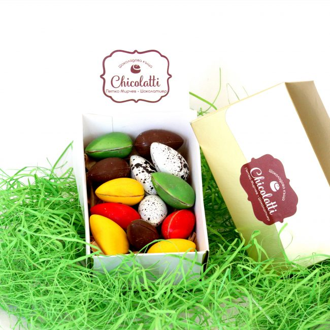 chocolate eggs in golden box