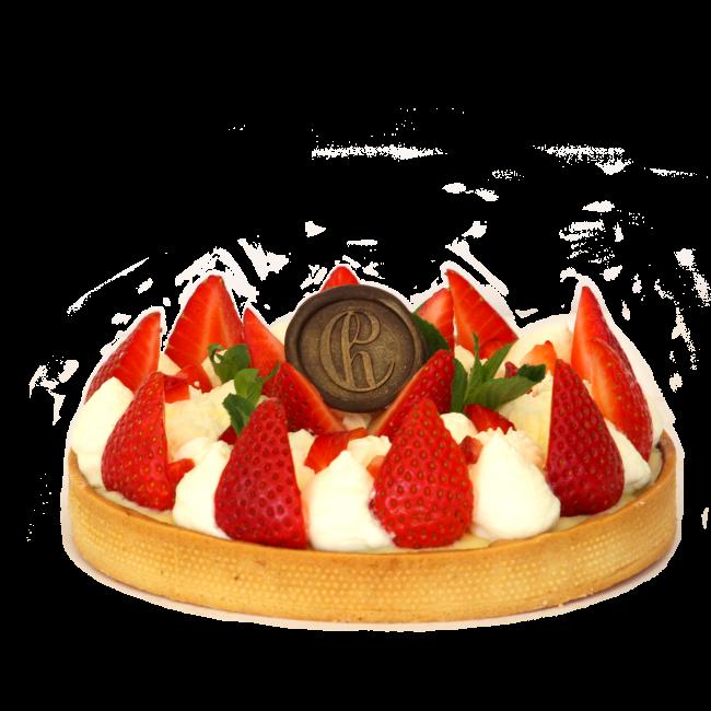 vanilla tart with strawberries