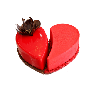 mousse cake shaped like a heart
