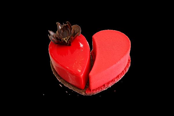 mousse cake shaped like a heart