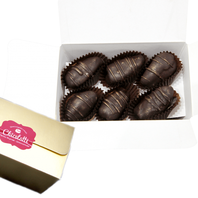 chocolate dates in a golden box