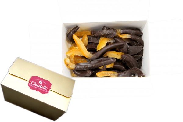 orange peels in a golden box